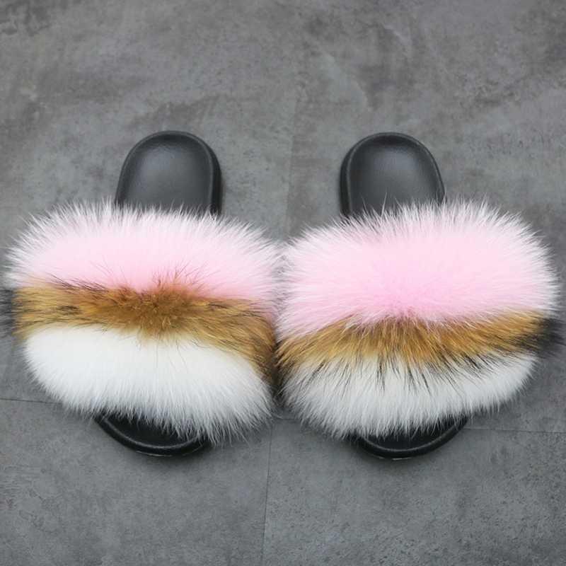 Fox Capelli Pantofole 2019 Estate Furry Scarpe Arcobaleno Multi Donne di Colore Pantofole 100% Reale Della Pelliccia di Fox di Lusso Presentazioni Aziende Produttrici Giochi di Grandi Dimensioni 36-45