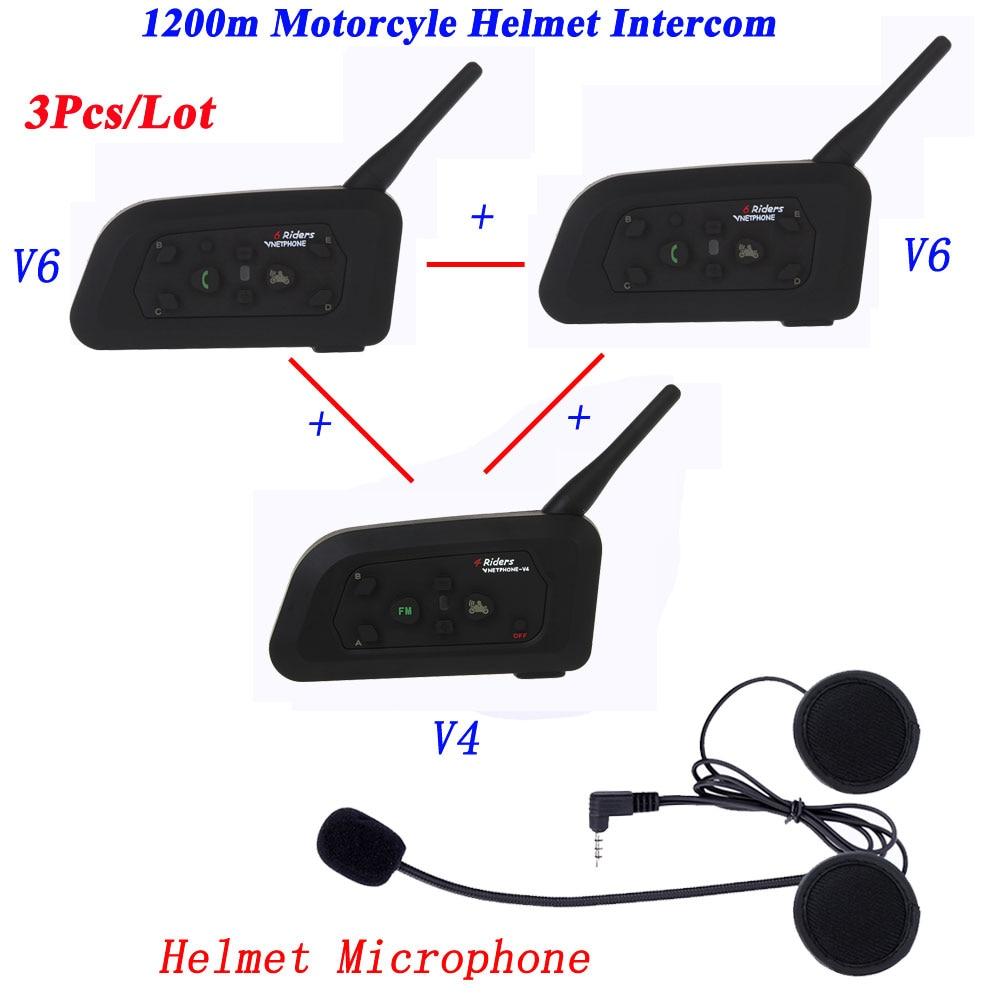 3Pcs/Lot Wireless 1200M Intercom Full Duplex Motorcycle Helmet Interphone Intercom Headset Communication System Intercom