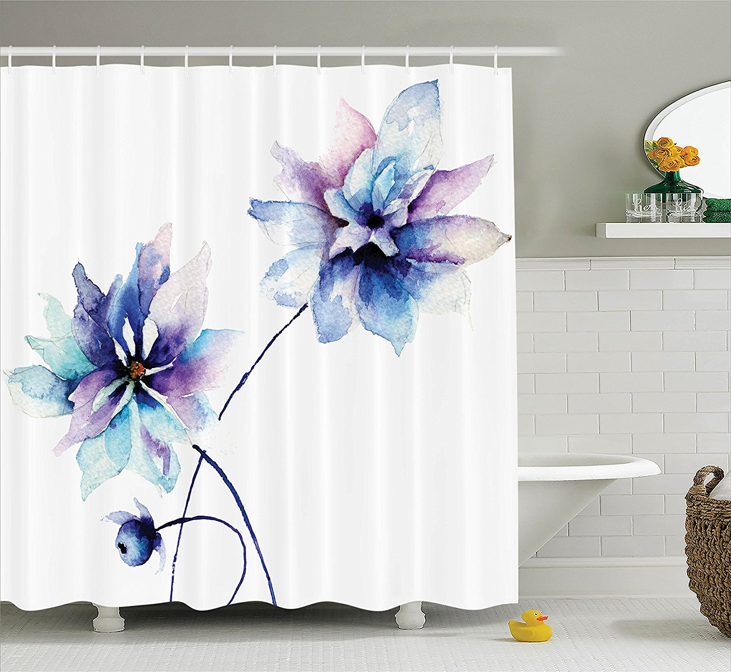 memory home watercolor flower shower curtain elegant flower drawing retro style floral art fabric bathroom decor