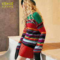 ELF SACK Winter Women Iridescence Color Sweater Striped Loose Female Pullovers Autumn Slash Neck Long Knitted Womens Sweaters