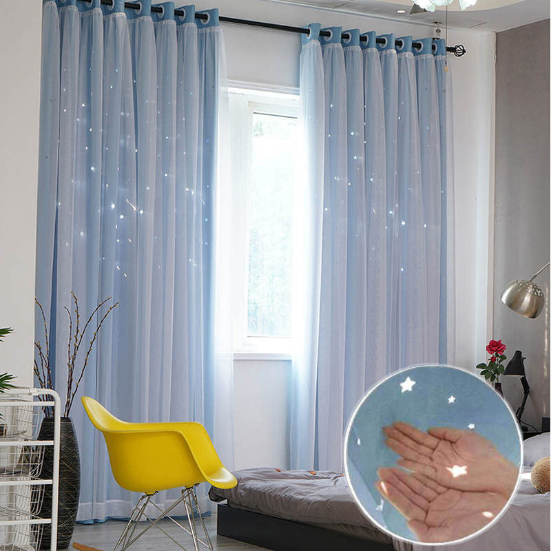 Modern Stars Window Curtains for Living Room Bedroom Kids Room Pink Blue Grey Voile Tulle Curtain Double Layer Door CurtainsModern Stars Window Curtains for Living Room Bedroom Kids Room Pink Blue Grey Voile Tulle Curtain Double Layer Door Curtains