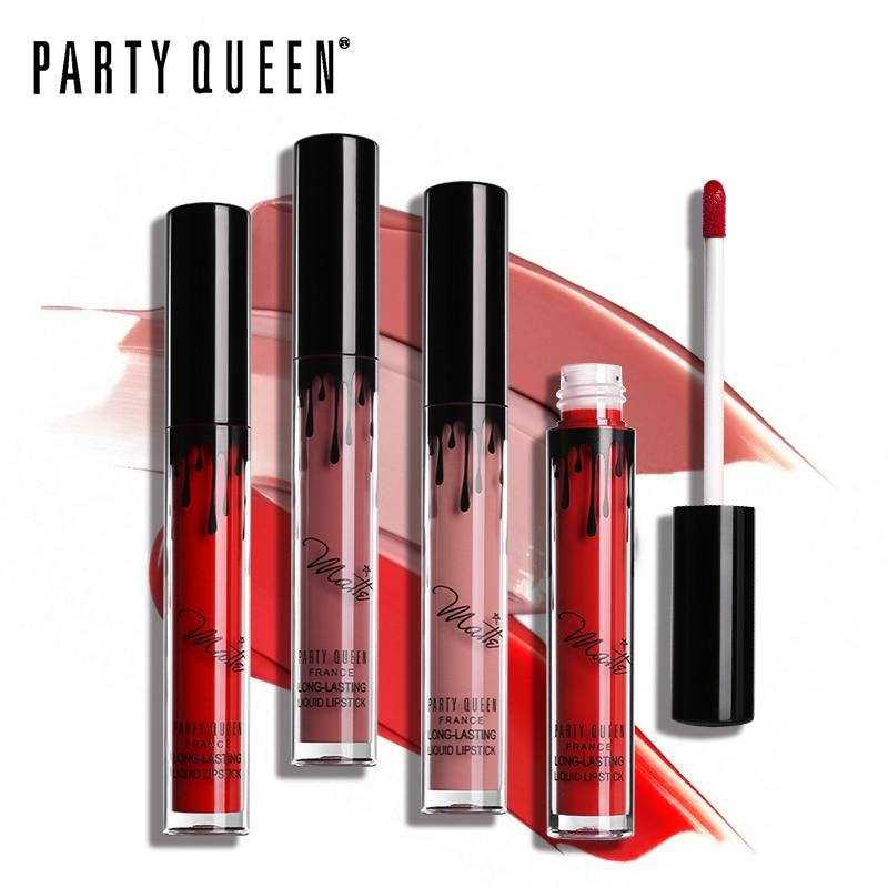 Party Queen Superlijmende Ultra Matte Lippenstift Vloeibare Waterdichte Smooth Vochtige Lipgloss Tattoo Make-up Sexy Rose Red Maquiallage