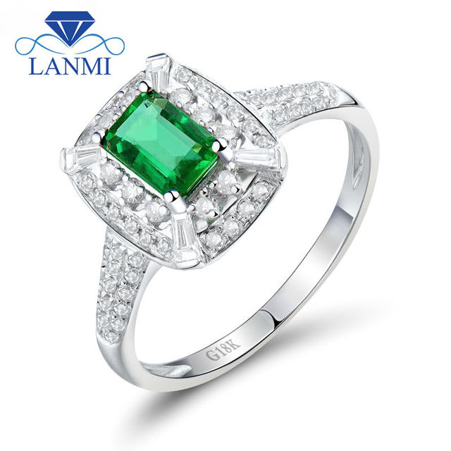 Luxury Solid 18kt White Gold Natural Emerald Wedding Rings Design With Diamond Genuine Gemstone Jewelry For