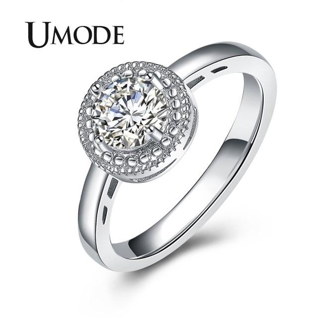 4ddf98d1a4eb UMODE anillos de joyería de boda y compromiso para mujeres joyería de moda  redondo Zirconia cúbica anillo de boda regalo caliente Bague Femme UR0377