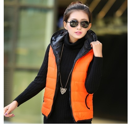 Woman fall plus size Casual Solid hooded pocket thicken down vest female spring winer oversized warm Cardigan down waistcoat