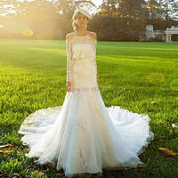 fashion elegant mermaid off shoulder wedding dress 2019 halter long sleeves appliques lace bridal marry gowns vestido de noiva
