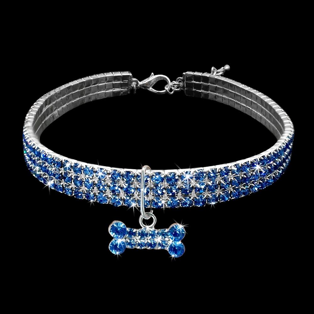 collier bleu pour chien avec cristal