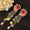 women drop long earrings exaggerated sweet flower pearl copper enamel glazes jewelry crystal rhinestone female hanging earrings