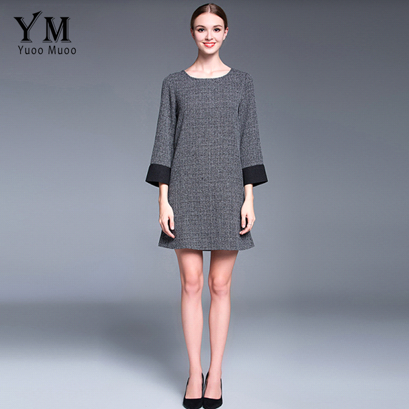 YuooMuoo New Women Autumn Fashion Classic Plaid Big Size Gray Casual Dress  European Elegant Women Clothing-in Dresses from Women s Clothing on ... f5e9ddeab1a0