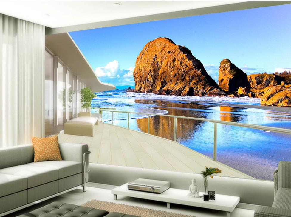 Custom 3d Photo Wallpaper Dream Beach Sea 3D Window Photo Wall Murals  Wallpaper Home Decoration(