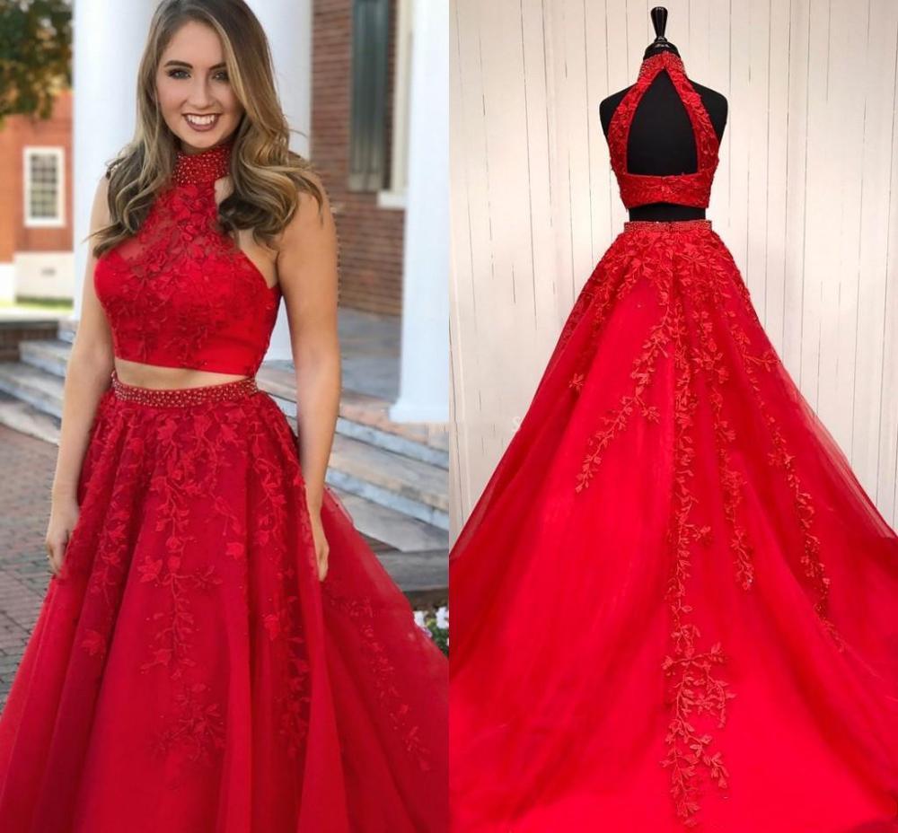 Charmant rouge deux pièces robes de bal perles col haut dos ouvert Appliques dentelle une ligne Tulle robes de soirée formelle fête porter