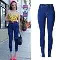 Fashion High Waist Women Skinny Pencil Jeans Denim Elastic Pants Trousers Blue Pencil Pants Long Trouser Plus Size 34-44 P45