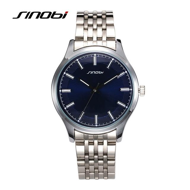 SINOBI amantes de Relógios de Quartzo Relógio de Forma Das Mulheres Superfície Azul Rodada Liga de Prata Banda Feminina Negócio Relógio de Pulso horas de relógio