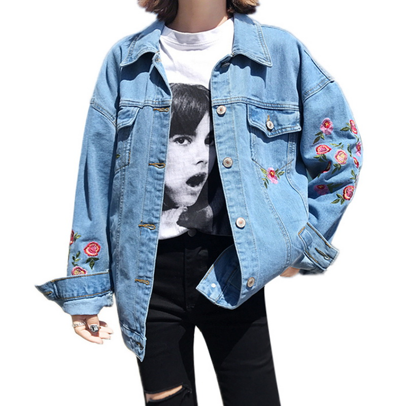 Female Flower Embroidery Denim font b Jacket b font 2017 New font b Women b font