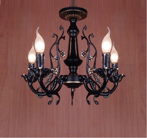 American Modern Minimalist Creative Wrought Iron Bedroom Living Room Chandelier Chandelier Candle Light Home LED Lights