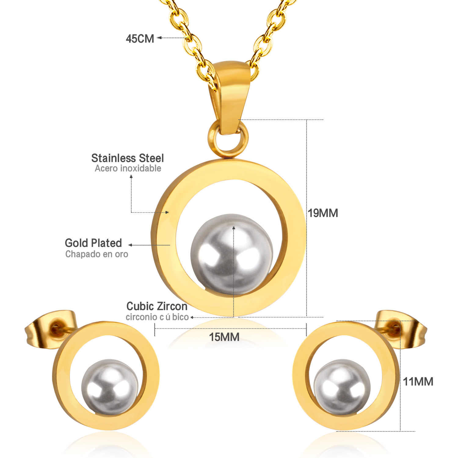 LUXUKISSKIDS Fashion Bridal Jewelry Set Circle With Pearl Jewelry For Women Christmas Gift