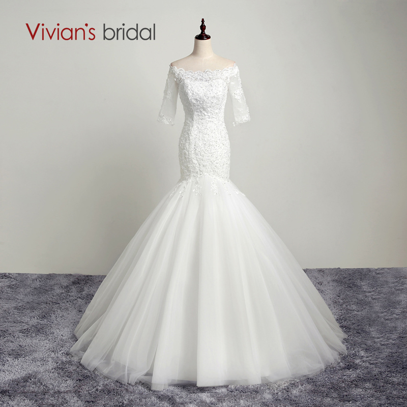Vivian's Bridal Beaded Sequin Mermaid Wedding Dress Strapless Tulle Lace Half Sleeve Wedding Gown AB04