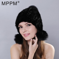 2017 New Real Mink Fur Hat For Women Mink Fur Pom Poms New Thick Girls Cap Hat Warm Women Knitted Mink Fur Beanies Cap For Lady