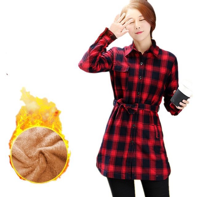 33b715620ce Plaid Shirts Female Winter Warm Thick Velvet Tops Women Long Plaid Shirt  Coat Flannel Cotton Plus Size Casual Clothing Bouses
