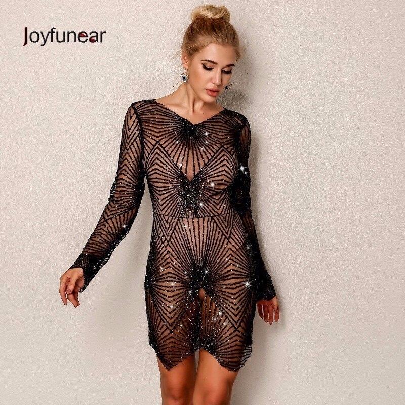 Joyfunear 2019 New Arrival Summer Dress Women Asymmetric Bodycon Sequin Mini Dress Elegent Vintage Sexy Dresses Woman Vestidos
