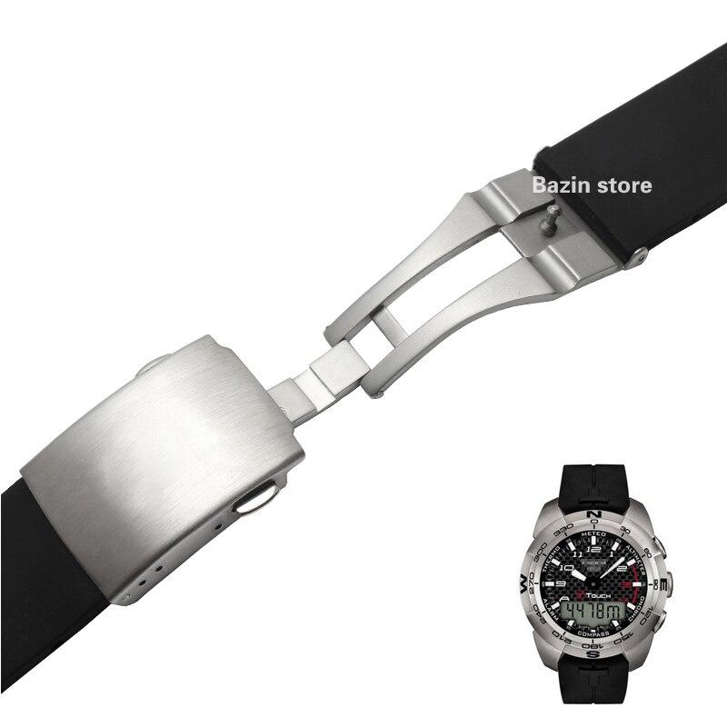 Image 2 - 20 мм 21 мм T013420A ремешок для часов T Touch II Expert черный силиконовый резиновый ремешок для часов T013420A или T047420A-in Ремешки для часов from Ручные часы on AliExpress - 11.11_Double 11_Singles' Day