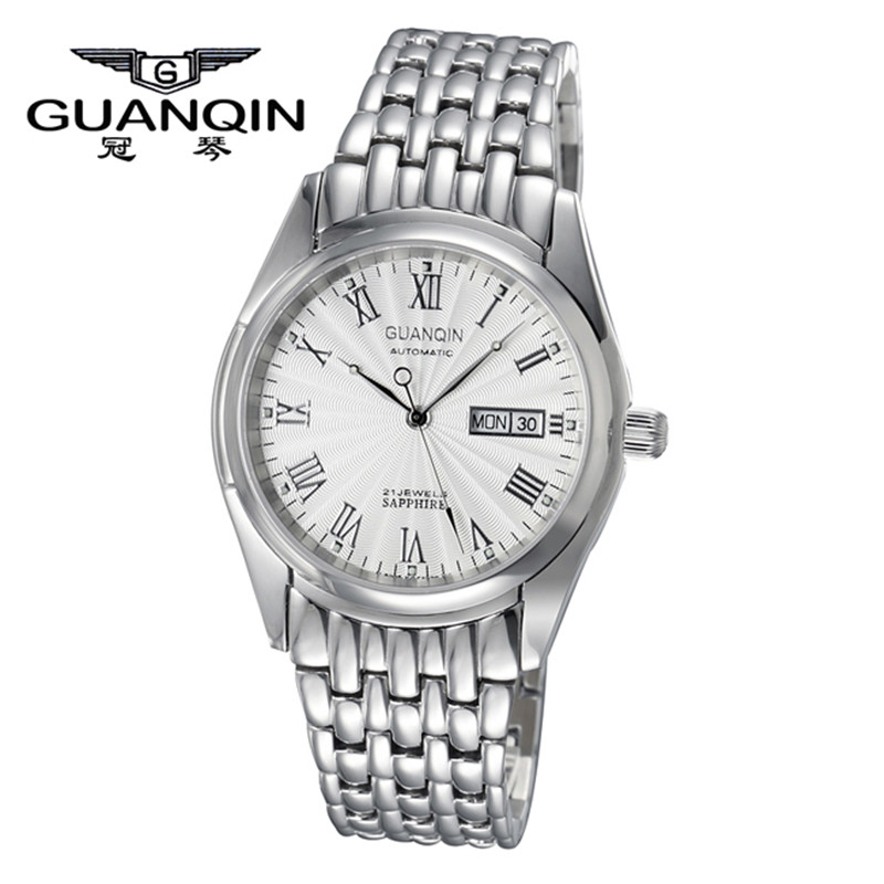 ФОТО High Quality GUANQIN Watch Men with Date Mechanical Watches Sapphire Business Men Watch Waterproof Stainless Steel Wristwatches