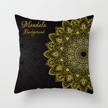 Fuwatacchi Indian Style Stamp Cushion Cover Geometric Pillow Case Gold Pillow Cover Home Decorative Pillows cover For Sofa Car fuwatacchi black gold foil linen cushion cover leaf flowers diamond pillow cover for home chair sofa decorative pillows 45 45cm