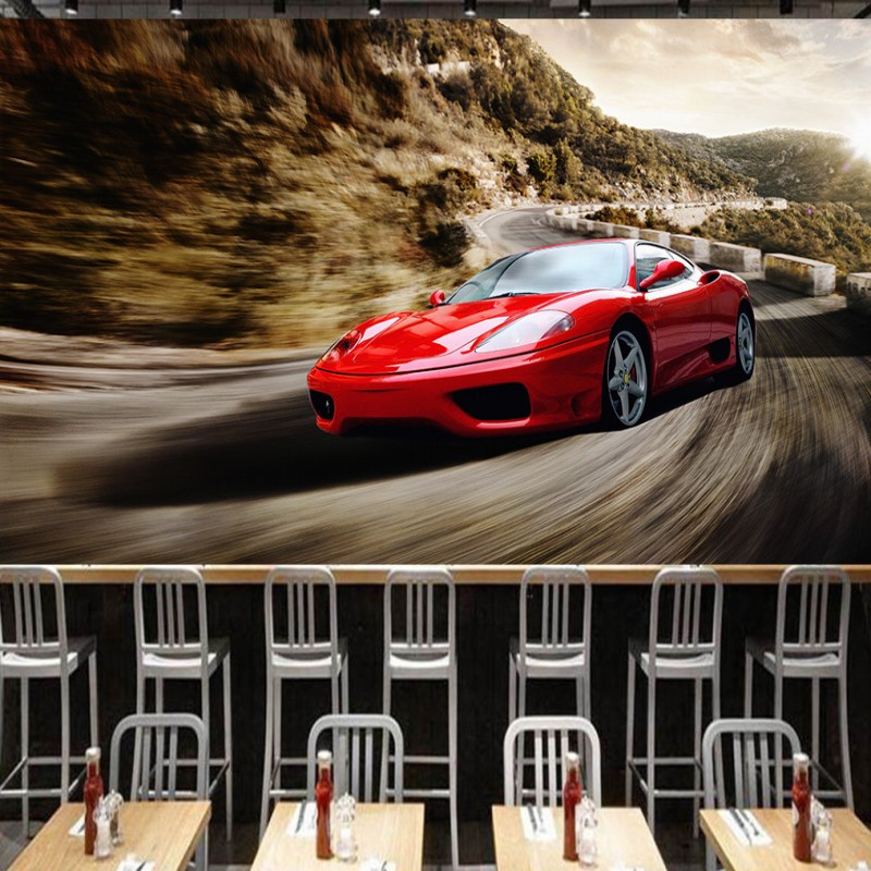 Photo Wallpaper 3D Mural Red Cool Sports Car Wallpaper KTV Living Room Tooling Background Wall Bedroom Wallpaper