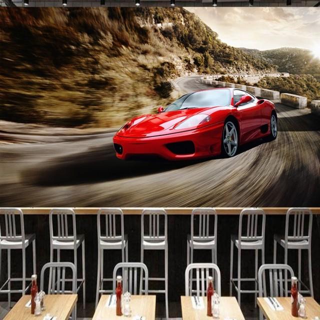 photo wallpaper 3D mural red cool sports car wallpaper KTV living