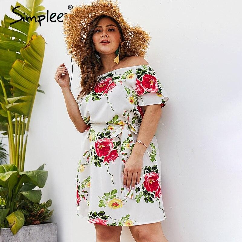 Simplee с открытыми плечами цветочный принт женское платье большого размера летнее с поясом с коротким рукавом Белое платье Элегантное богемн...