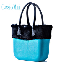 Classic Mini Obag Style complete AMbag with Rabbit Fur Plush Trim insert handles Women's bags handbag O bag
