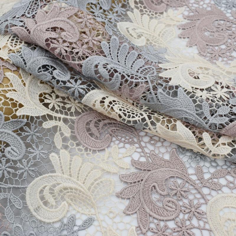 Bunten cashew blume wasser löslich spitze stoff für kleid bazin riche getzner telas por metro tissu tissus au meter tela