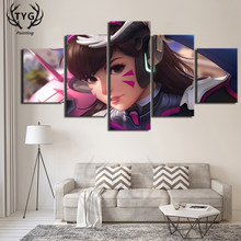 5 Pieces Overwatch Dva OW Games Popular Poster Decorative Art On The Wall Canvas Painting Bedroom HD Print Wall Decorate Framed(China)
