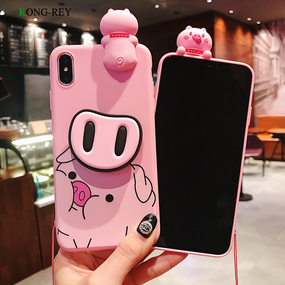 Cute Artoon Pink Silicone Phone Case With Lanyard For iphone 7 8 TPU Soft Cover Case For iphone 6 X XR XS MAX Mobile Phone Co