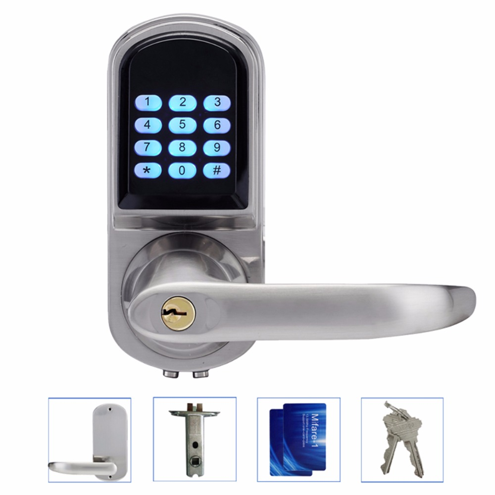 Access Control Smart Electronic Keyless Code Door Lock Unlock With Code + Mifare Card And Mechanical Key Right/Left Hand F1402D digital smart door lock electronic touchscreen numeric keypad deadbolt door lock unlock with m1 card code or mechanical key