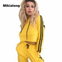 2017 Autumn Bruce Lee Yellow Tracksuit Women Crop Top Hoodie Said Striped Two Piece Outfits Casual