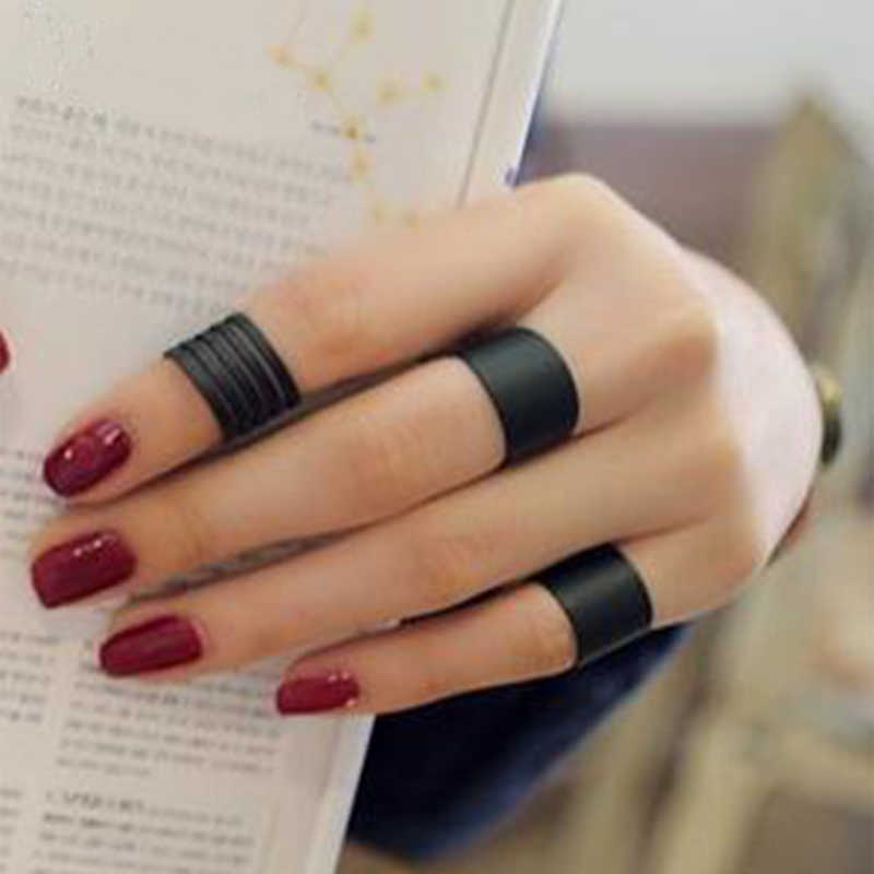 3Pcs Fashion Black Opening Ring Mid Finger Knuckle Ring Set Wholesale Scrub Cocktail Rings Geometry Anel Vintage Ethnic Jewelry
