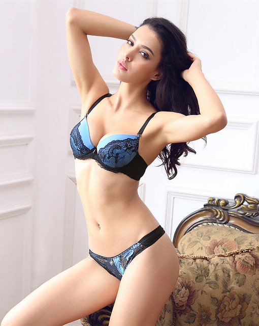 Sexy Push Up Large Size 34-42 B C Cup Women Lace Bra Sets Blue lingerie set  Floral Underwear Intimates For women Free shipping 5eac3a882