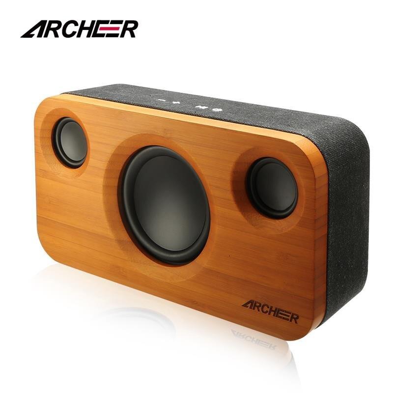 100% Archeer Altoparlanti Bluetooth Incredibile Audio A 2.1 Canali di Bambù di Legno Stereo Doppio Altoparlante Incorporato Altoparlanti Avanzata Fase