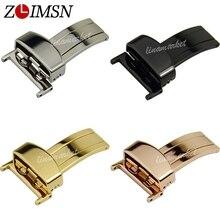 Cinturón de Hebilla de Metal de Acero ZLIMSN Corchete Correa 16 18 20 22mm Plata Oro Negro Oro Rosa Relojes Accesorios K18