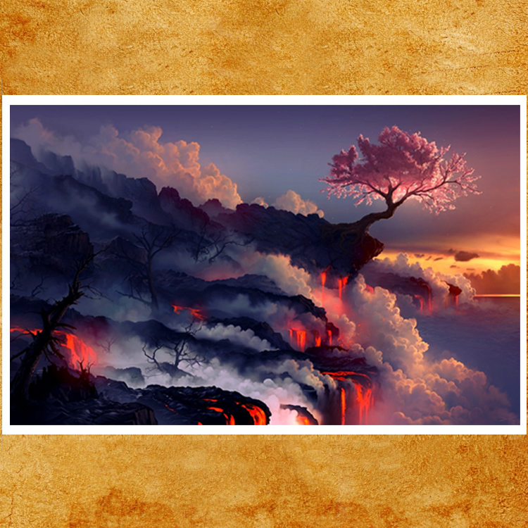 1 Piece Canvas Painting Fantasy Art Scorched Earth Lava Landscape Cherry Blossom Sunset Life Blossom HD Picture Print Wall Decor 3