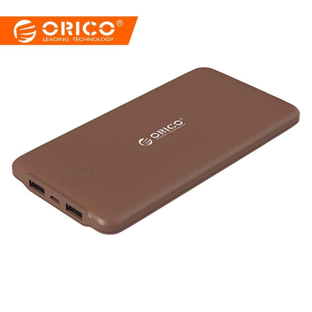 ORICO 10000 мАч Внешний зарядное устройство для смартфонов идентификации 2.4A Dual USB порты и разъёмы запасные аккумуляторы для телефонов Универсал...
