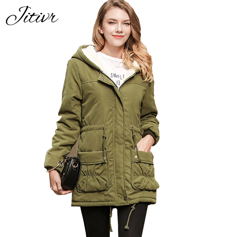 2017 New Winter Coats Slim Solid With Zipper Hooded Casual Fashion Warm Jackets Plus Size For