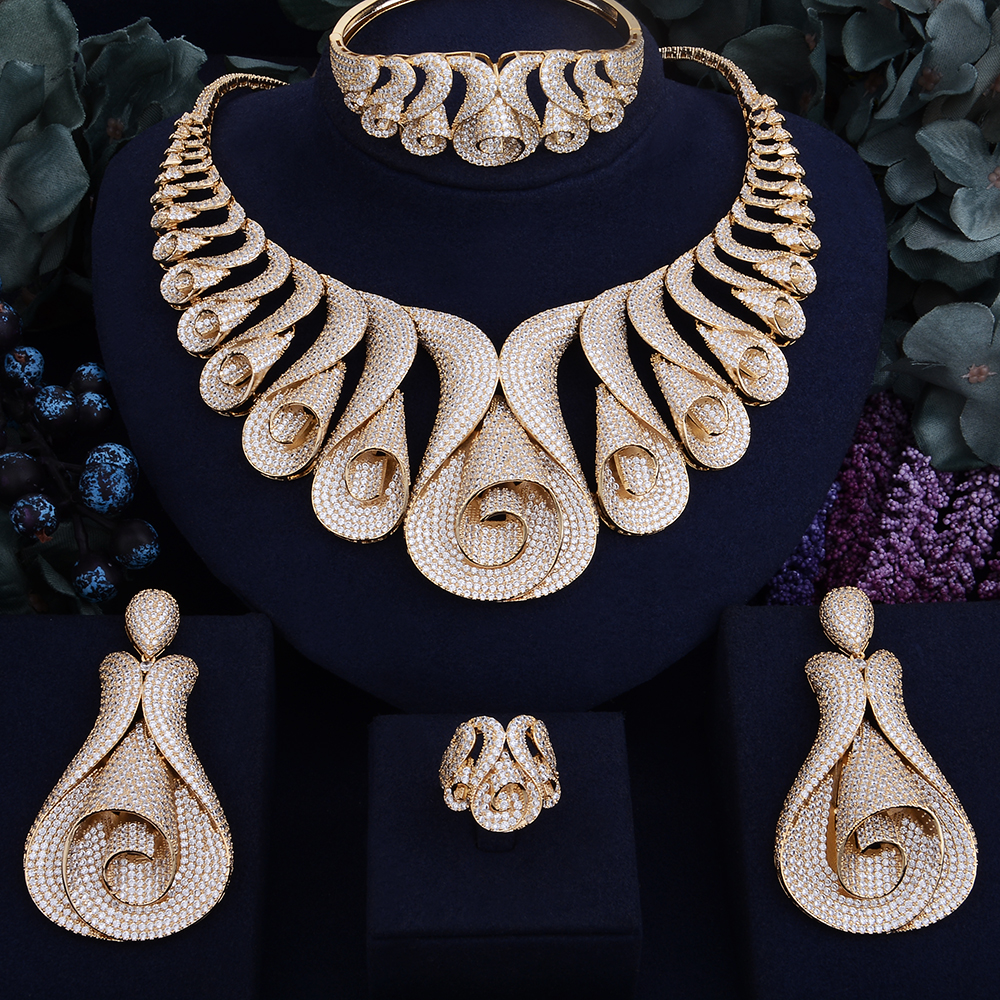 Image 2 - GODKI 62MM Flower Super Luxury Women Nigerian Wedding Naija Bride Cubic Zirconia Necklace Ring Bangle Earring Dubai Jewelry Set-in Jewelry Sets from Jewelry & Accessories