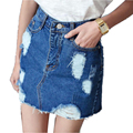 Vintage Denim Skirt Women Pencil Jeans Skirt Saia Hole Fashion Skirts Womens Jupe Femme Ripped Jeans Women's Skirt Saias Faldas