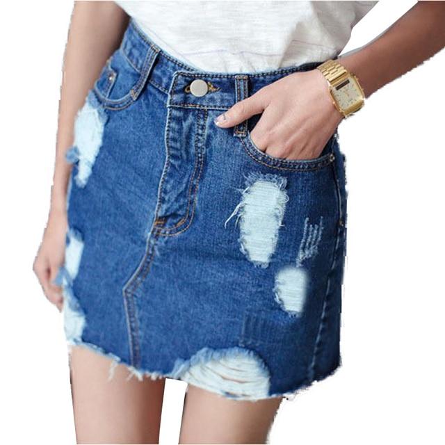 Vintage Denim Skirt Women Pencil Jeans Skirt Saia Hole Fashion Skirts Womens Jupe Femme Ripped Jeans Women's Skirt Saias Faldas