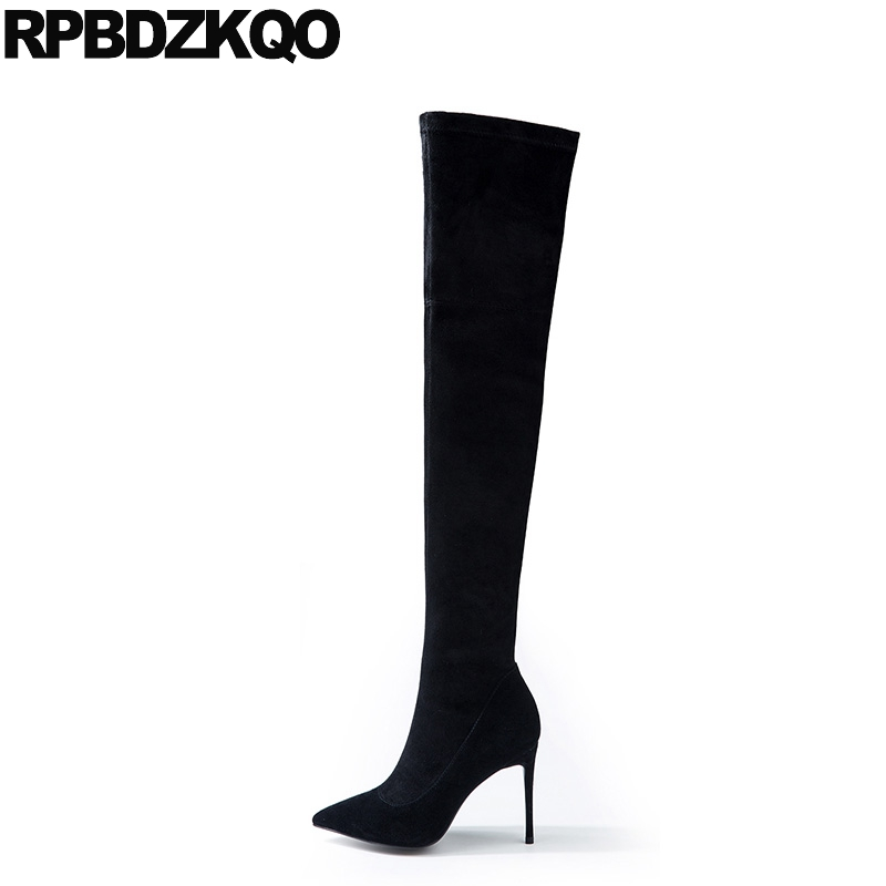 Stretch Knee High Quality Stiletto Thin Genuine Leather Sexy Heel Suede Slim Thigh Women Boots Over The Long Pointed Toe Black concise style grey suede or pu leather stiletto heel long boots fancy women pointed toe thin highheel thigh high boots celebrity