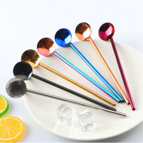 2019 New Colorful Home 7 pcs Stainless Steel Thick Fine Drinking Straws Spoon Brush Kits