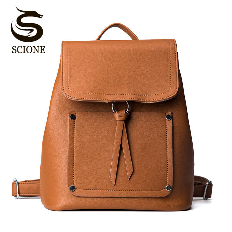 Scione Vintage Leather Backpack Female Women High Quality PU Backpacks For Teenage Girls School Bags Solid Color Travel Mochila women vintage backpack bags 2017 fashion letter travel bag pu leather backpack female for teenage girls soft backpacks xa1166h
