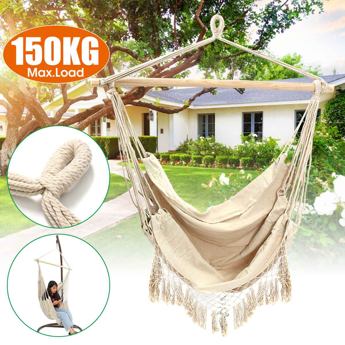 Nordic Style Hammock Outdoor Indoor Furniture Garden Swing For Adult Children Swinging Chair With Wooden Stick